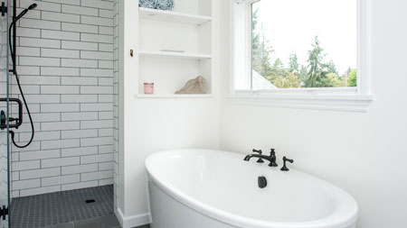 Remodeled Bathroom with Standalone Tub in West Seattle