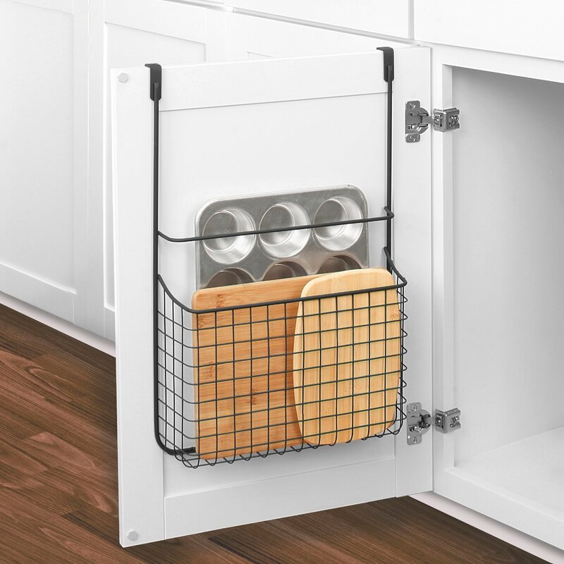 Baking items hanging on back of cabinet doors