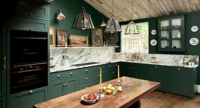 Custom kitchen with artwork on shelf