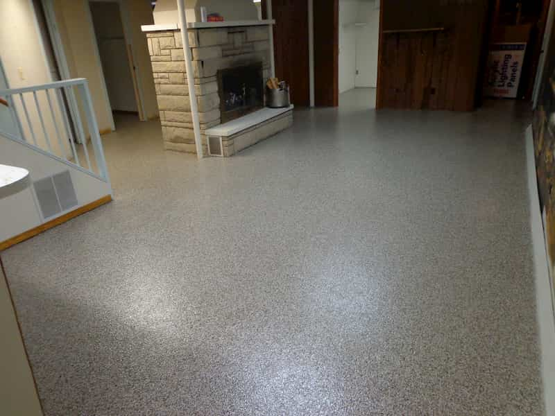 Concrete basement floor with epoxy coating