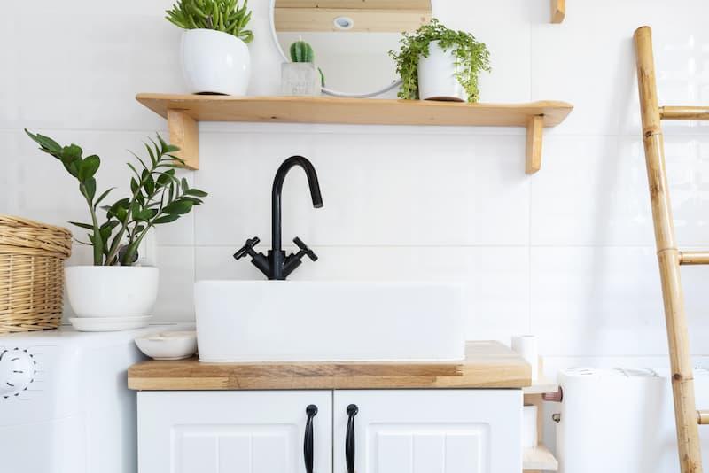 Sink pedestal made from vintage furniture