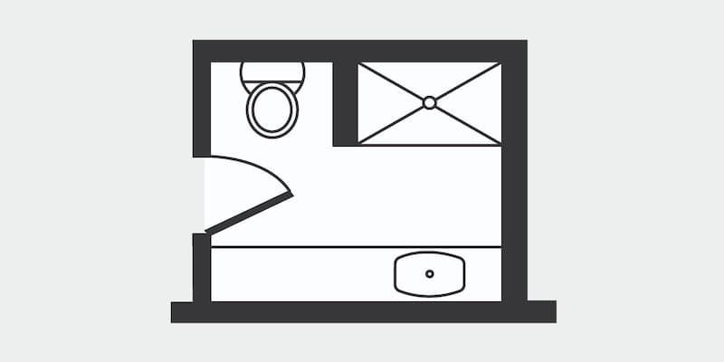 Floor plan for Small three-quarter bathroom
