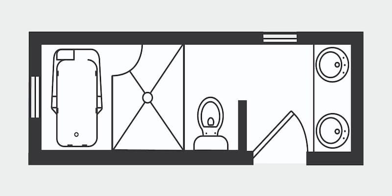 Floor plan of a bathroom with a walk-through shower