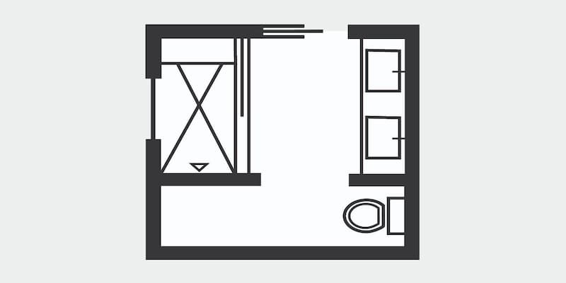 Floor plan for a small square bathroom