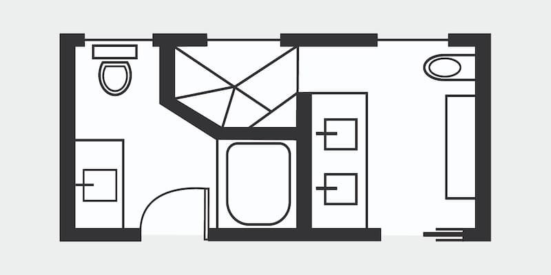 Floor plan for a combo master and guest bath