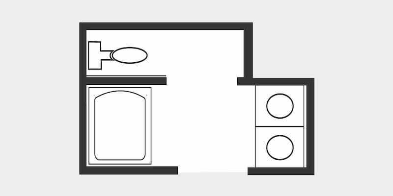 Floor plan of a full bath with water closet (WC)