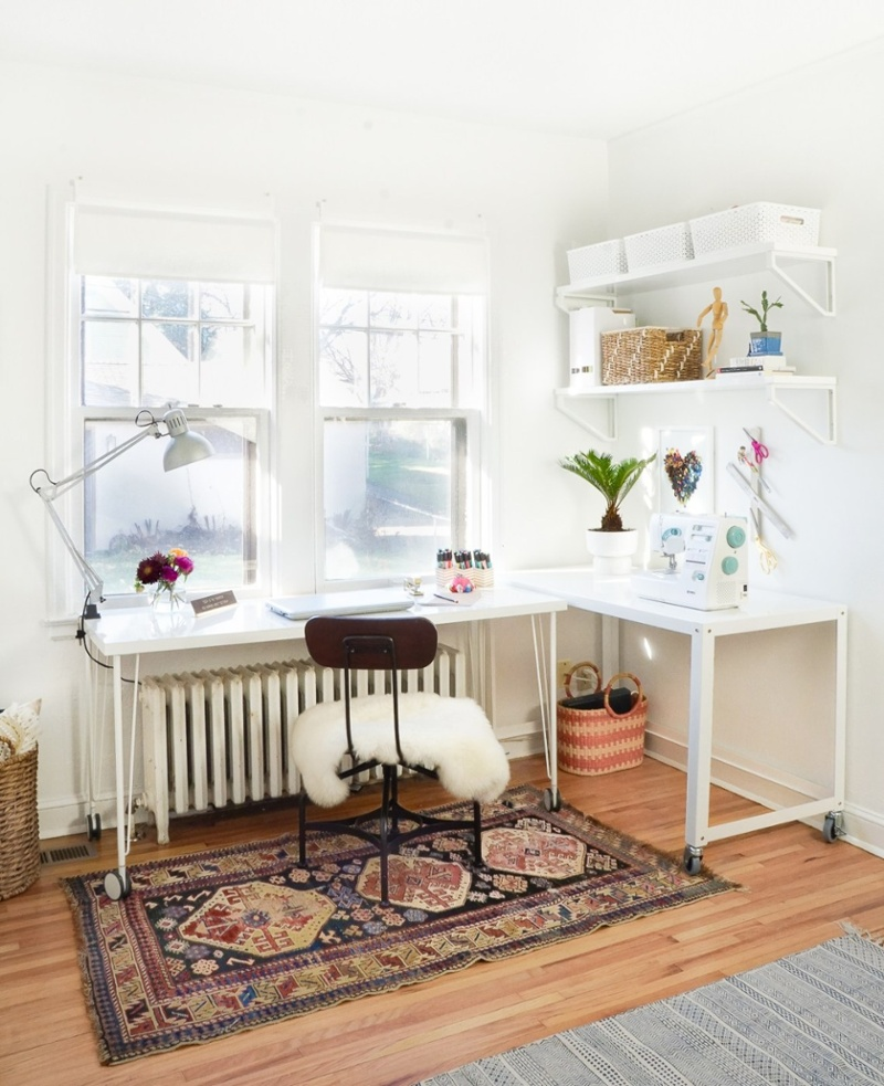 Craft space with L-shaped desk