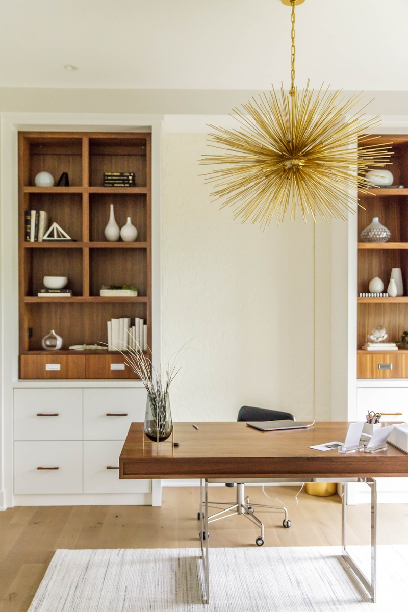 Home office with sunburst pendant