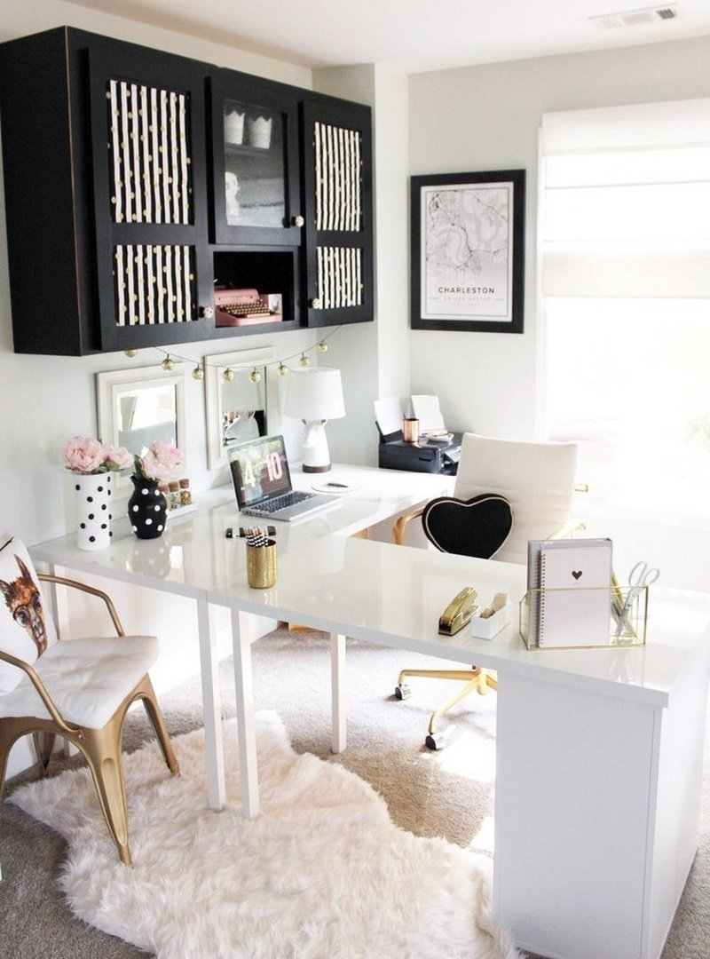 Pink-accented home office