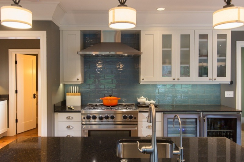 Remodeled kitchen with aqua tile