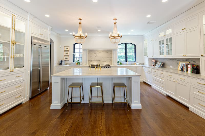 Chandeliers Over Kitchen Island
