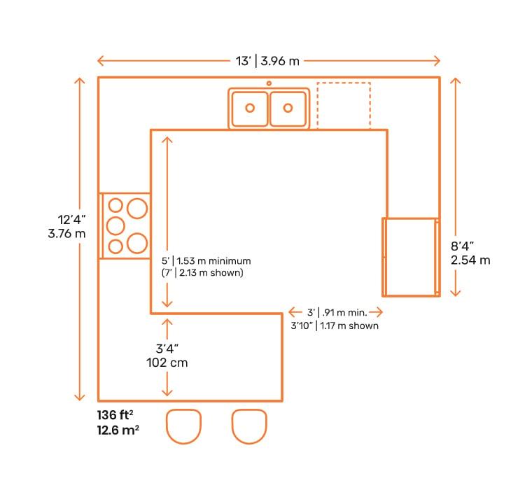 G-Shaped Kitchen Layout