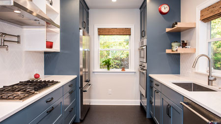 Remodeled Seattle Kitchen with Blue Cabinets