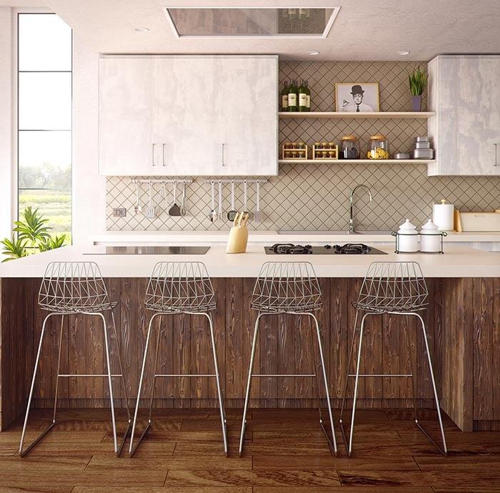 Lavish square tile backsplash with white cabinets