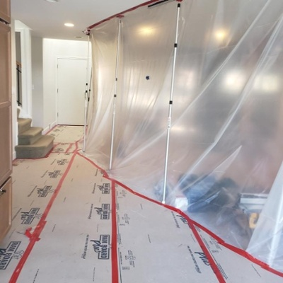 Construction Jobsite with Plastic Protective Sheeting - COVID-19