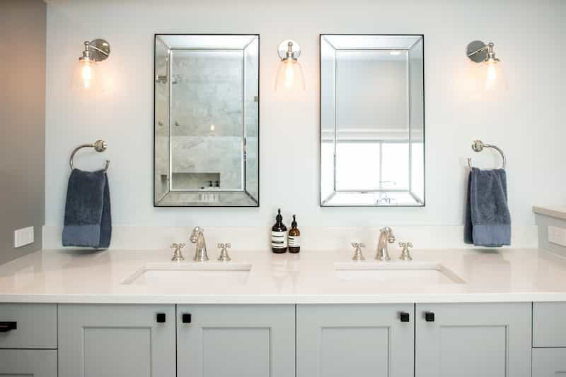 Painted shaker-style bathroom vanity - cabinets