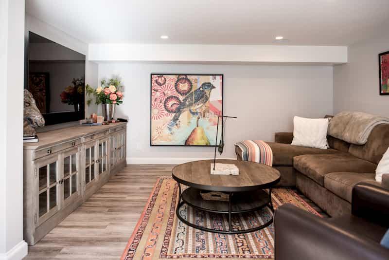 Finished Seattle basement with luxury vinyl tile