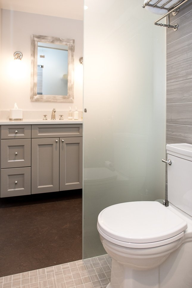 Frosted glass bathroom divider