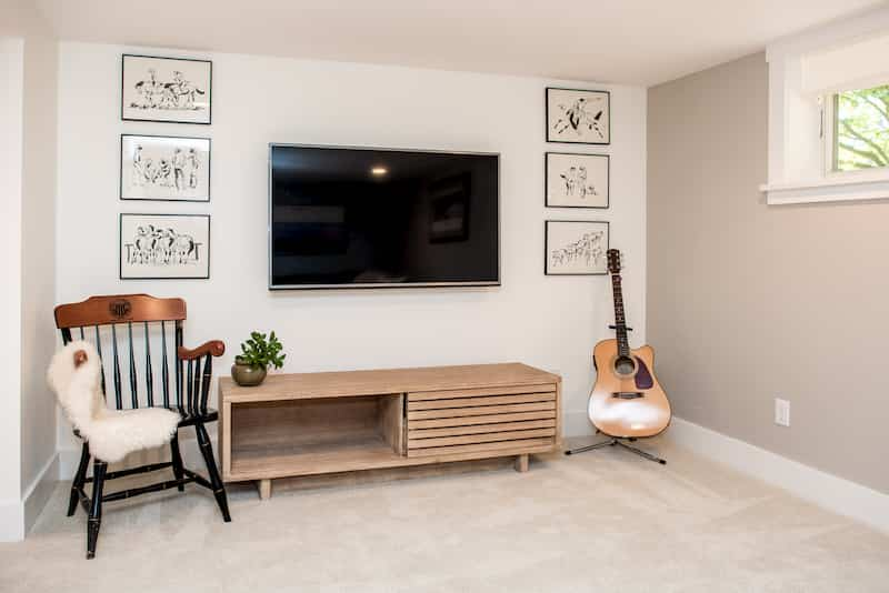 Seattle basement remodel with wall-to-wall carpet