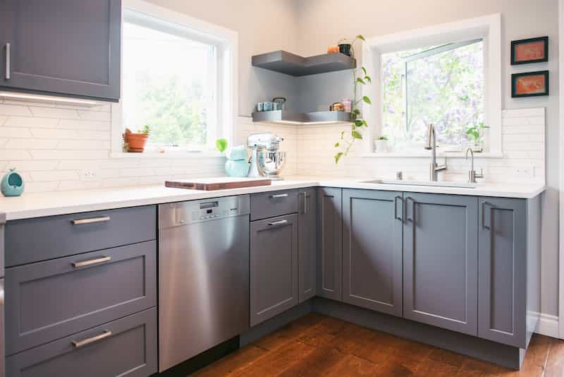 Durable grey painted cabinets in remodeled Seattle kitchen