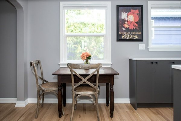 Small kitchen with eating area for two