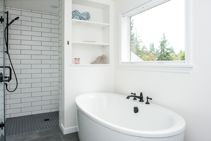 Soaking tub in West Seattle bathroom