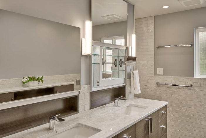 Robern Uplift sliding medicine cabinet in Mercer Island bathroom