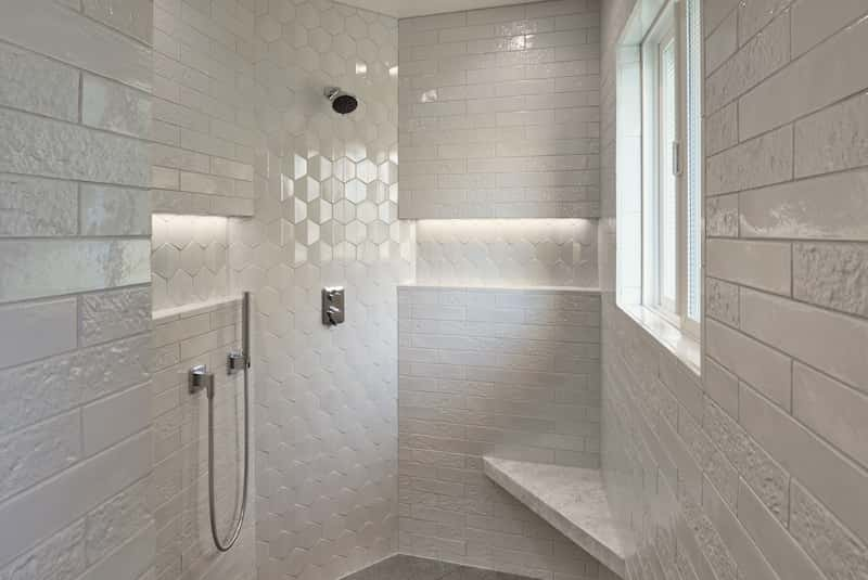 Luxury porcelain tile shower - Mercer Island remodeler