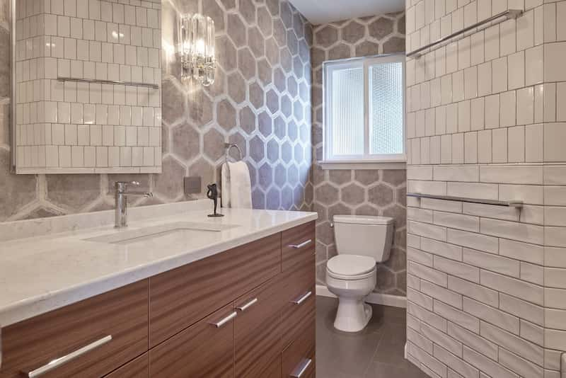 Seattle bathroom remodel with durable quartz countertops
