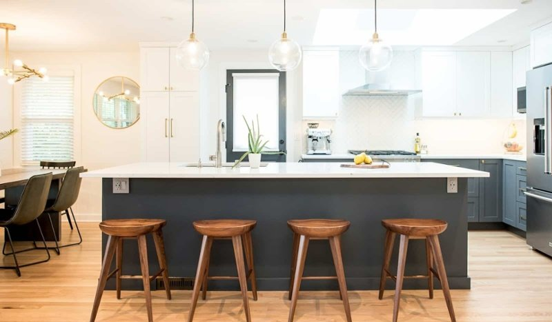 Remodeled kitchen with good natural lighting from skylight