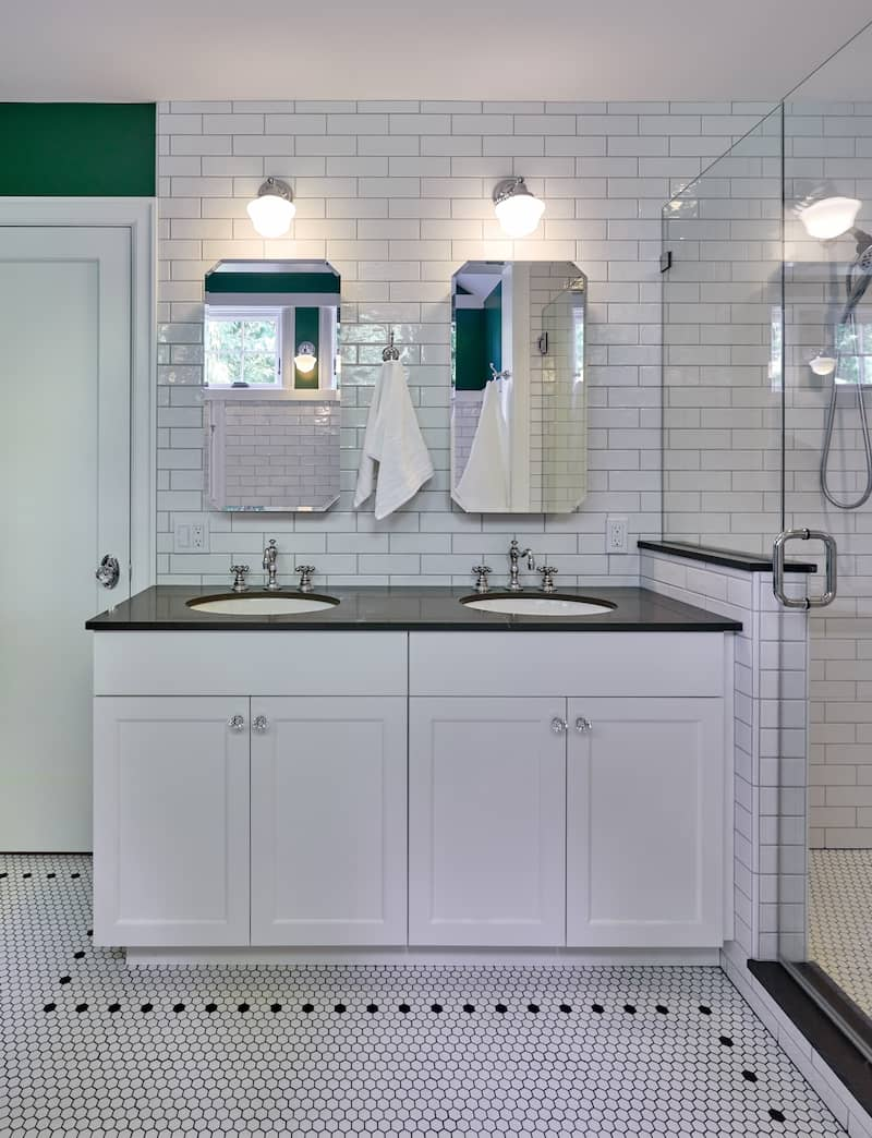 White double vanity in a remodeled kitchen