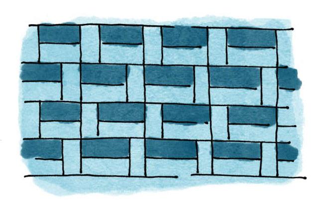 Analogous basketweave tile pattern