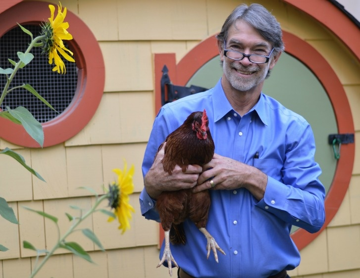 Denny Conner in Front of Custom Chicken Coop in Wallingford
