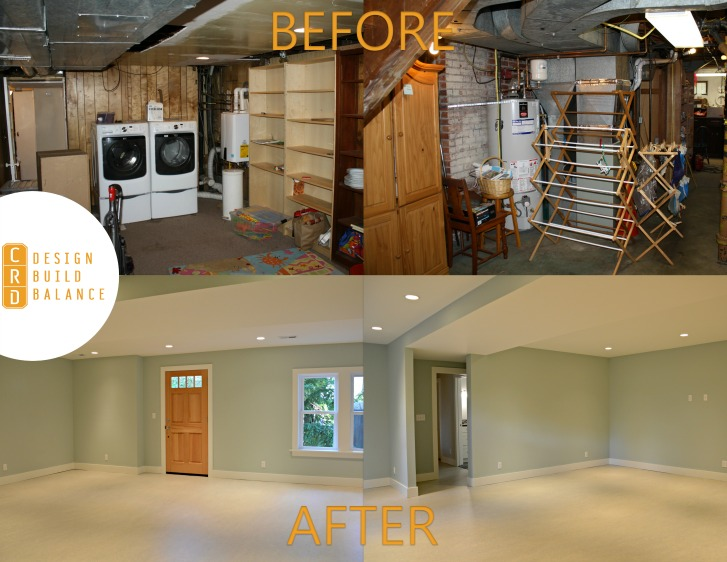 Wallingford Basement Remodel Before and After Photo