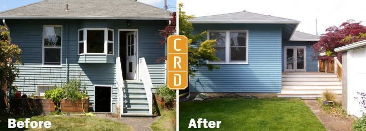 Before and After Back Entryway and Porch Remodel Greenlake Seattle