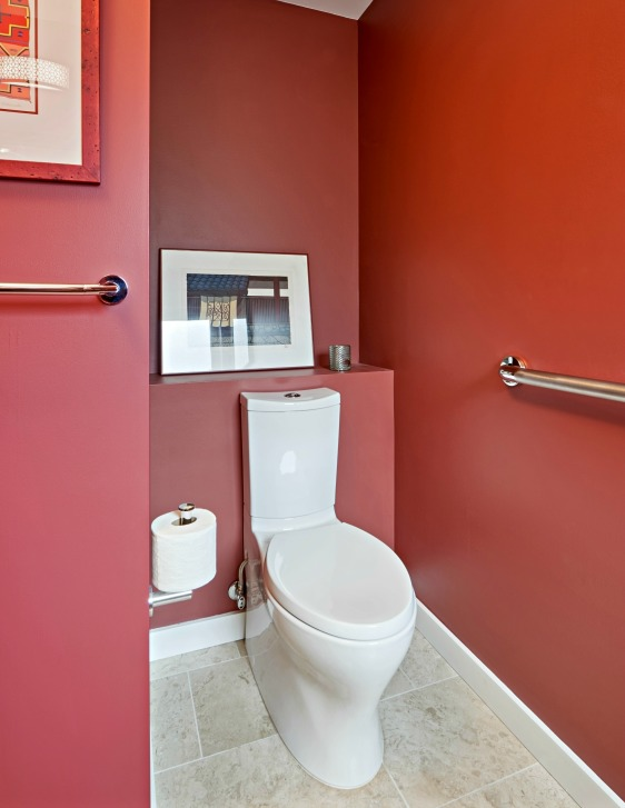 Powder Room Toilet with Grab Bars for Universal Design